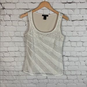 WHBM Sequins Shimmer Ivory Tank Top size M